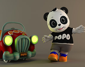 Cute Kid Panda Popo with his vehicle 3D