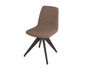 Chair TORSO 837-I POTOCCO Brown linen and dark 3D model 1