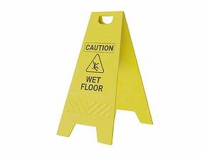The warning sign Wet Floor 3D asset