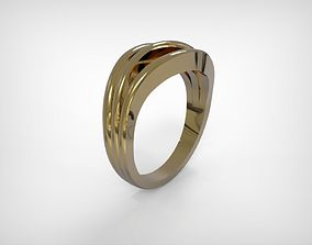 3D printable model Jewelry Golden Ring Three Wavy Lines