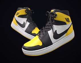 Nike Air Jordan Yellow White 3D asset