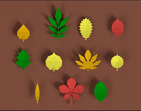 3D model realtime Low poly Leafs Pack