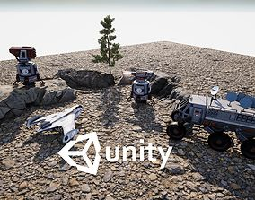 3D asset Sci-fi Rover ship and turret