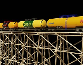 3D 4 Wagon and bridge trestle complete textures and