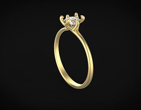 Six Prong Engagement Ring Model 3d model