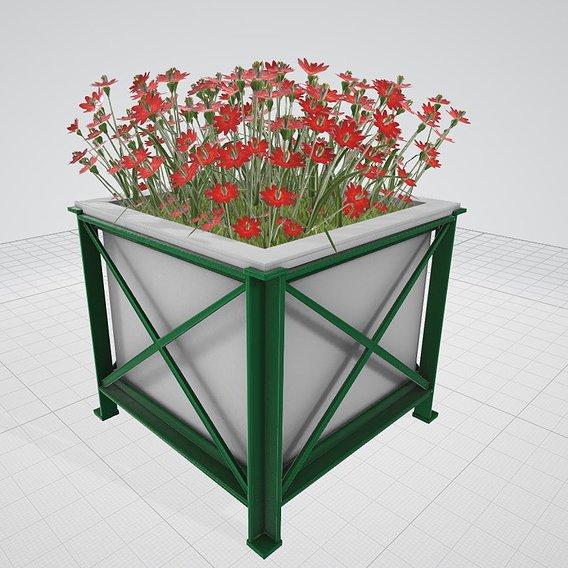 Flower Pot Red Flowers Version 2