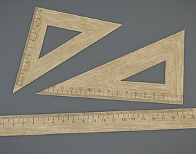 game-ready Wooden rulers 3D models