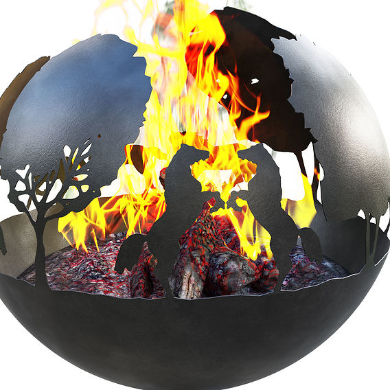 Hors fireplace concept for exterior or interior.