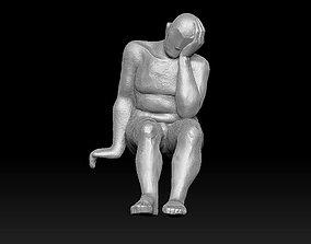 man sitting modern 3D print model