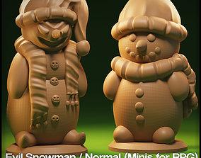 Evil Snowman Miniature for tabletop games 3D print model