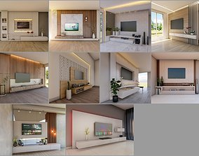 10 TV Wall 3d models Collection