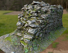 3D asset Old Mossy Stone Half Wall