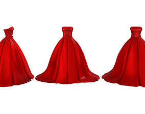 3D asset Wide Skirt Red Gown