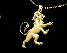 Lion standing Pendant jewelry Gold 3D printable model