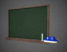 Chalkboard Classroom Set Eraser Chalk Chalkboard 3D asset