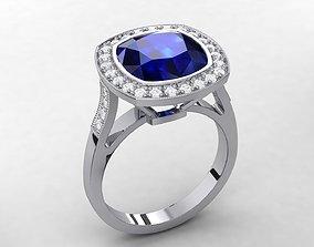 3D print model Blue Sapphire Halo Ring 0017
