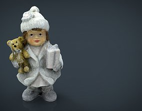 Girl with Christmas present 3D model