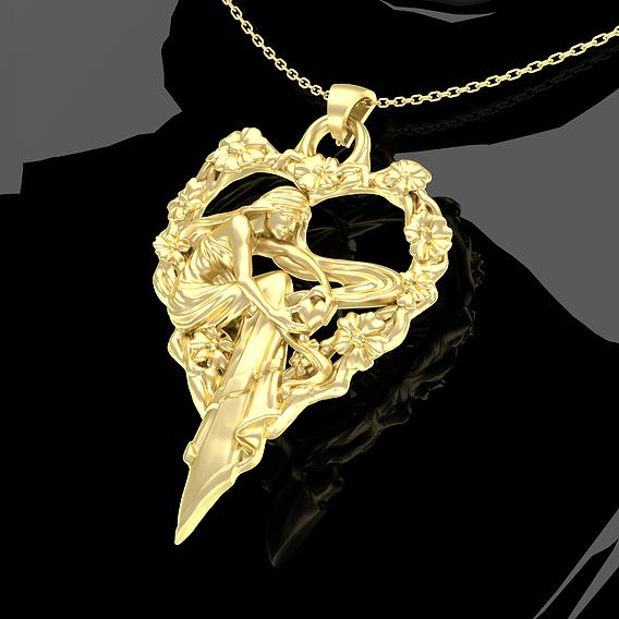 Woman Heart Flower Ring Pendant jewelry Gold 3D print model