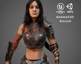 Warrior maiden 3D asset animated