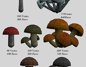 Mushrooms pak Lowpoly 3D model realtime