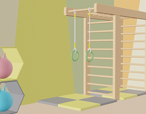 Cartoon children gym 3D model