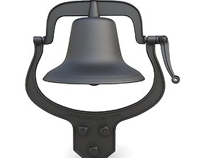 Antique iron cast school bell 3D
