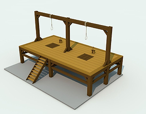 3D model Low Poly Gallows Three