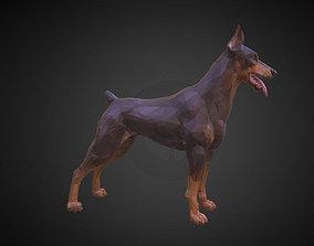 3D model Doberman Brown Low Polygon Art Animal