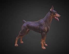 3D model Doberman Brown Low Polygon Art Animal