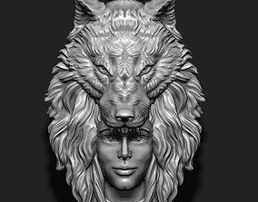 3D printable model girl wolf pendant indian