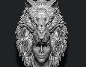 3D printable model mesh girl wolf pendant