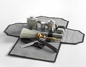 Victorian Mens Grooming Shaving Kit and Straight 3D model
