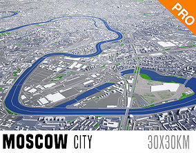Moscow City And Surroundings Russia Low Poly VR 3D model