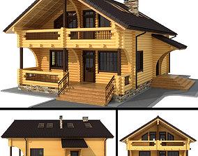 3D model cottage Log house - rounded log