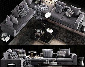 3D model Minotti Powell Sofa 2