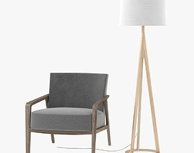 3D model Riva 1920 noble armchair and Jackson Floor Lamp 3