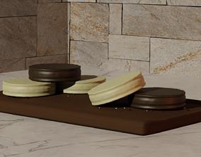 3D model Alfajores de dulce de leche y chocolate