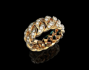 3D print model Diamond Cuban Ring N6