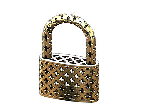 3D print model Moucharabieh gold padlock