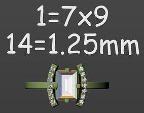 3D printable model Ring baguette