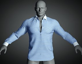 Long sleeve shirt with open collar in blue white stripe 3D