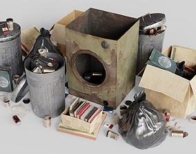 3D asset Garbage set