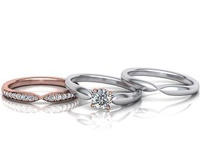 Wedding Set Band and Solitaire Engagement ring 3d model