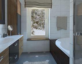 3D model Wonderful bathroom with brown wood doors
