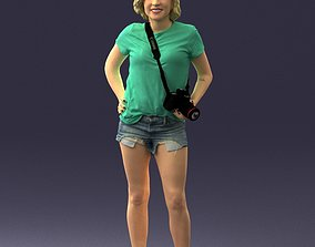 Blonde in shorts with a camera 0229 3D Print