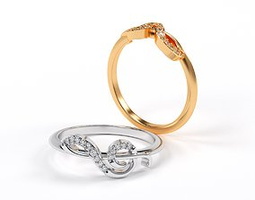 treble clef shape gold ring with diamonds 3D print model