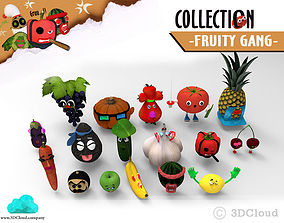 rigged Fruity Gang - Game 3D Animation Ready Character