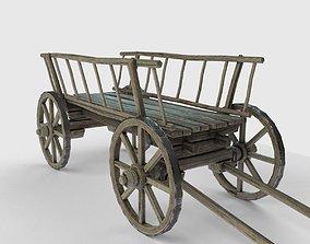 3D asset Old wooden cart low poly model
