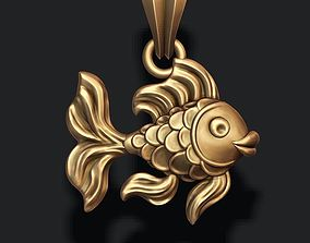 Golden fish pendant 3D print model