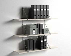 Ekby Gallo Wall Shelves with Office Organizers 3D